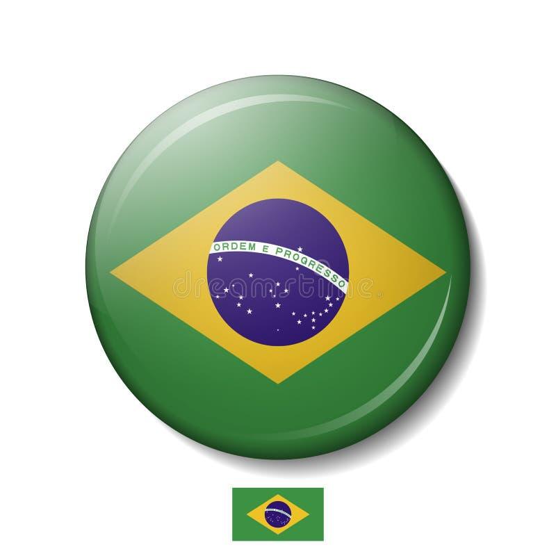 Vectorillustratie van de vlagknopen van BRAZILIË, 3d ronde vectorpictogrammen stock illustratie