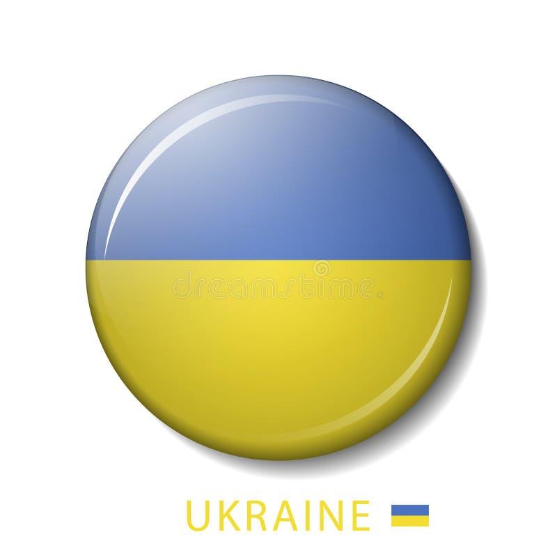 Vectorillustratie van de vlagknopen van de Oekraïne, 3d ronde vectorpictogrammen royalty-vrije illustratie