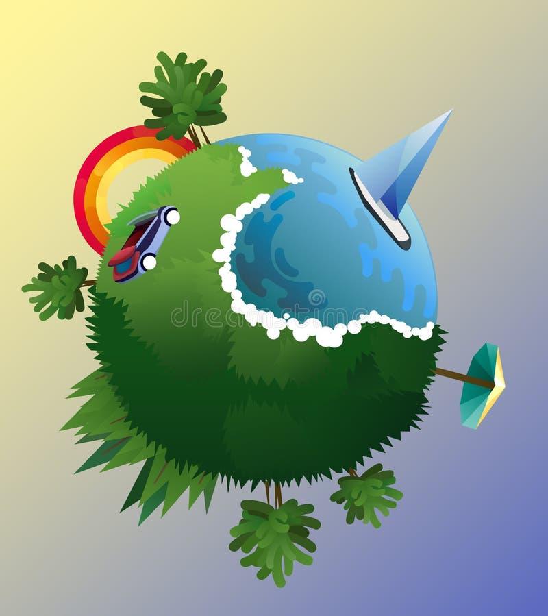 Vectorillustratie van de vlakke samenstelling van de ontwerpreis met groene planeet Diverse landschap, kust, stijging en zonsonde stock illustratie