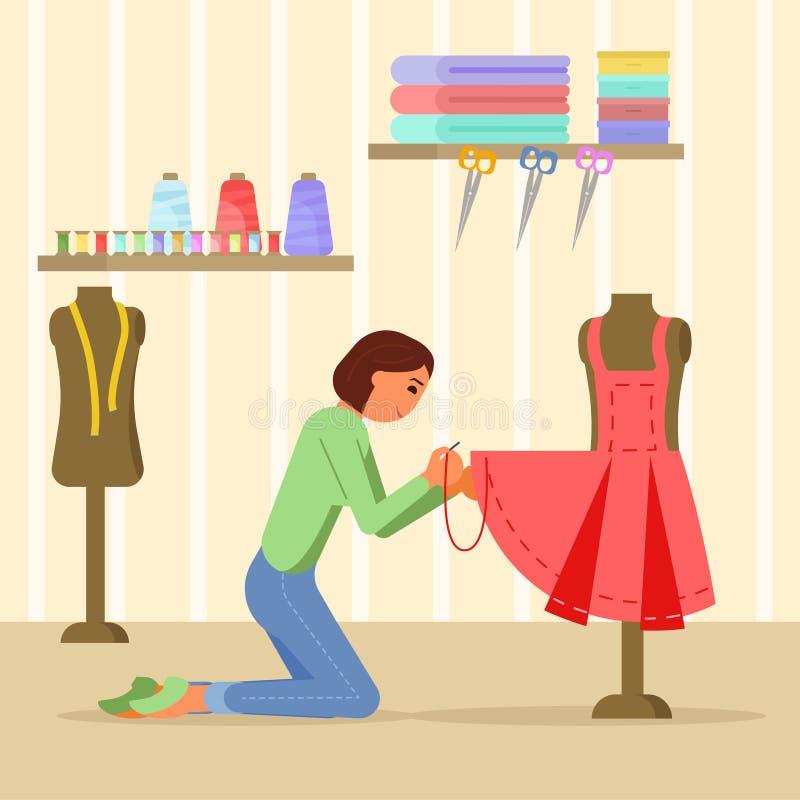 Vectorillustratie van de vrouwen de naaiende kleding in vlakke stijl stock illustratie
