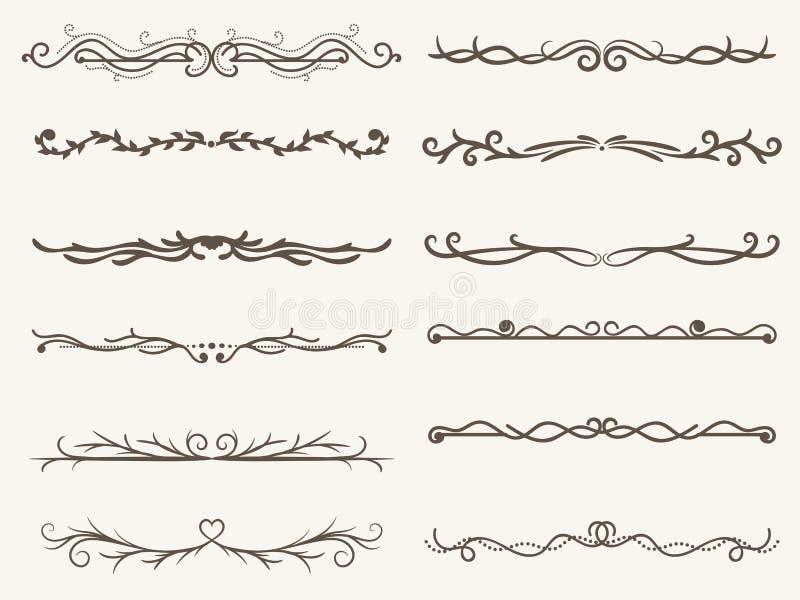 Vectorillustratie van decoratieve hoekkader en lijnreeks stock illustratie