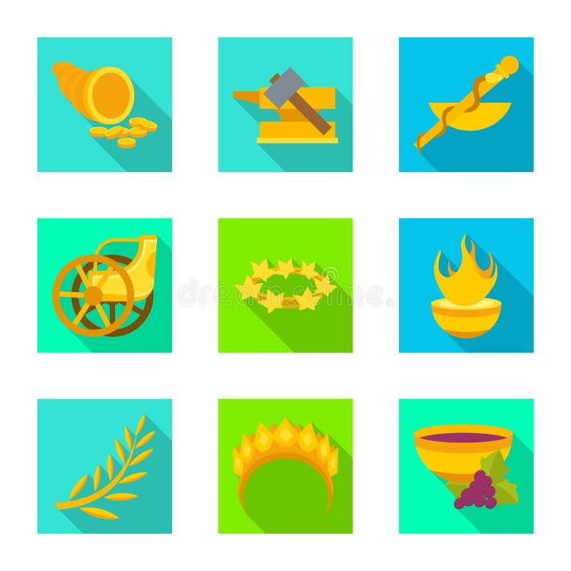 Vectorillustratie van deity en antiek embleem Inzameling van deity en van de mythenvoorraad vectorillustratie royalty-vrije illustratie