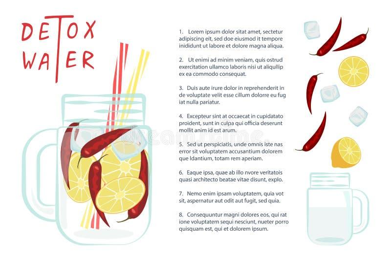 Vectorillustratie van Detox-water royalty-vrije illustratie