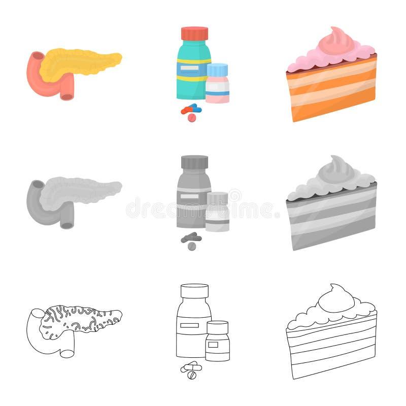 Vectorillustratie van dieet en behandelingsembleem Inzameling van dieet en de vectorillustratie van de geneeskundevoorraad vector illustratie