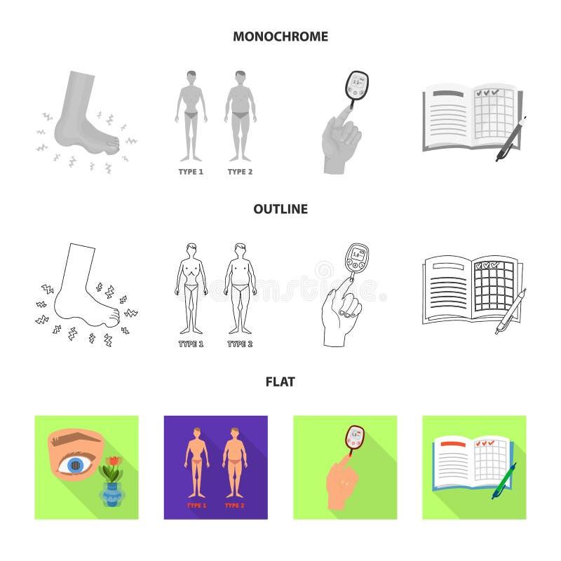 Vectorillustratie van dieet en behandelingsembleem Inzameling van dieet en de vectorillustratie van de geneeskundevoorraad royalty-vrije illustratie