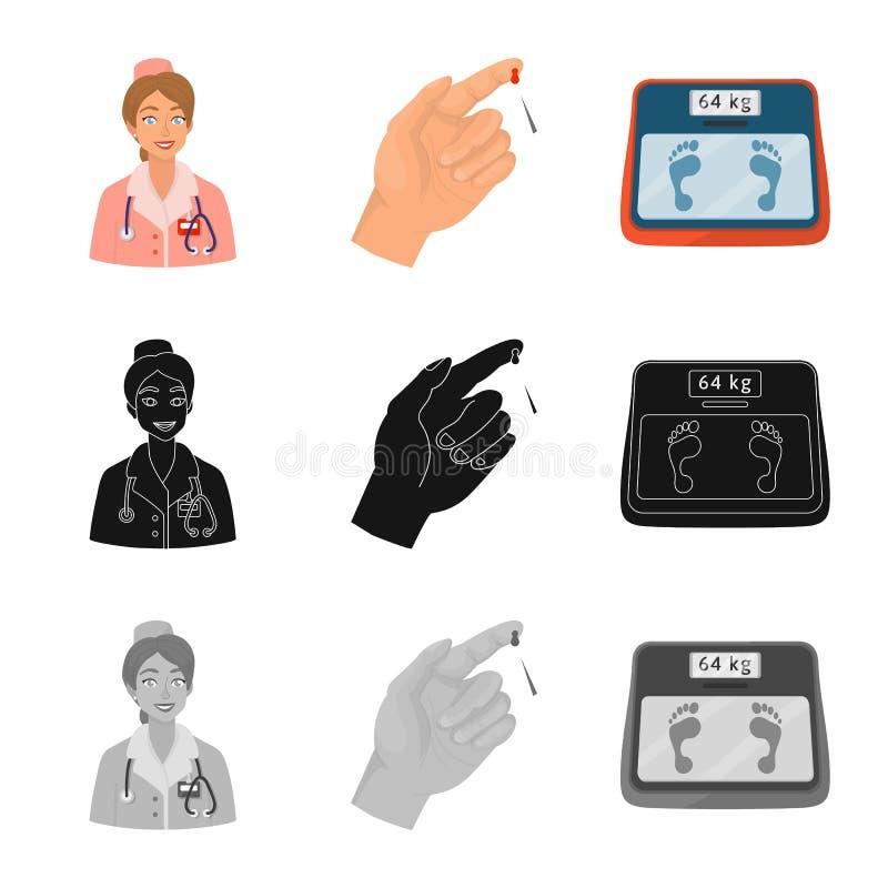 Vectorillustratie van dieet en behandelingsembleem Inzameling van dieet en het symbool van de geneeskundevoorraad voor Web vector illustratie