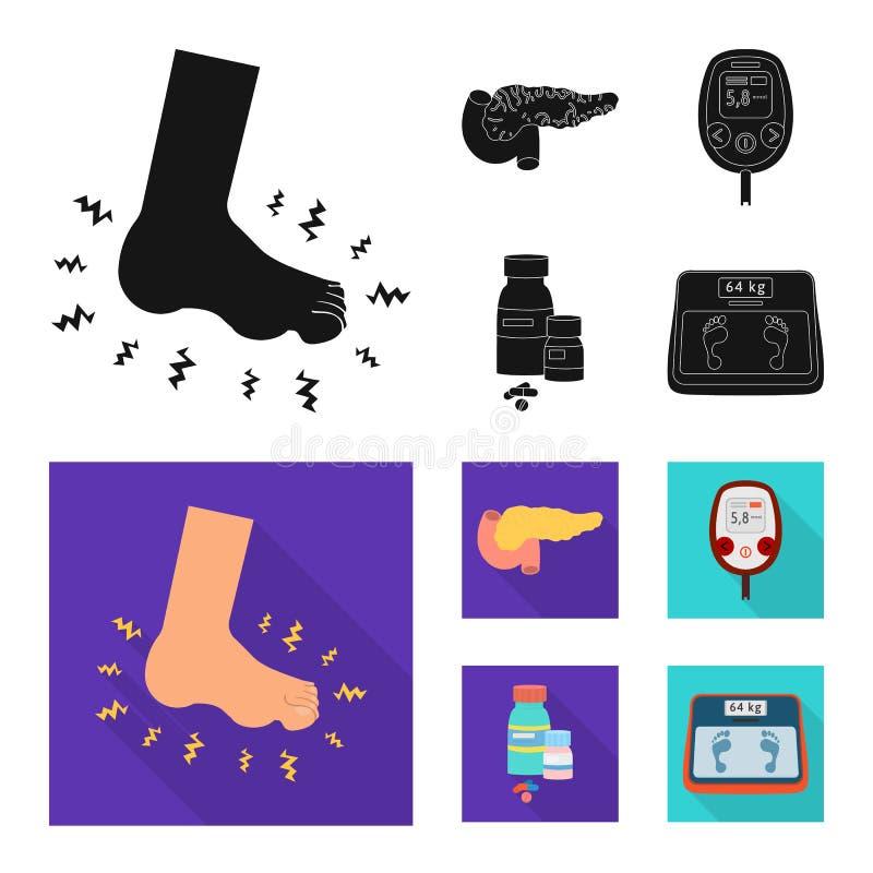 Vectorillustratie van dieet en behandelingsembleem Inzameling van dieet en het symbool van de geneeskundevoorraad voor Web stock illustratie
