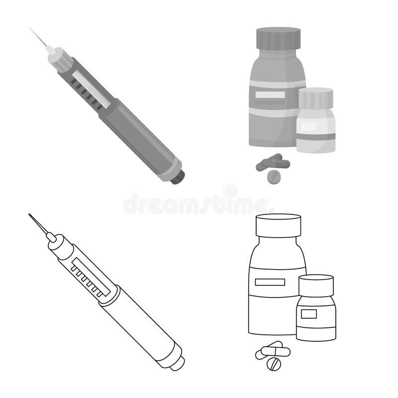 Vectorillustratie van dieet en behandelingsembleem Inzameling van dieet en het symbool van de geneeskundevoorraad voor Web royalty-vrije illustratie