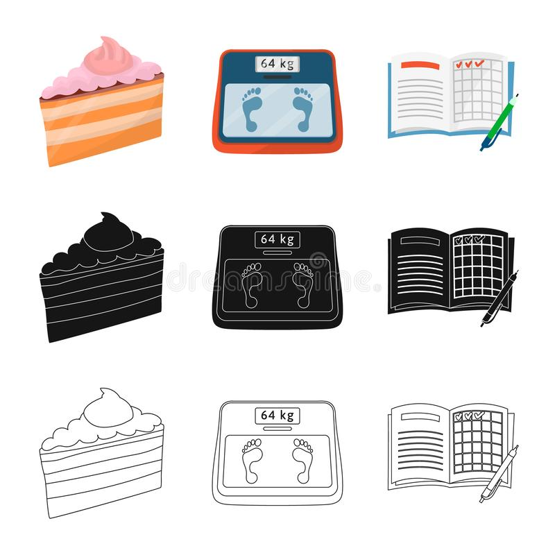 Vectorillustratie van dieet en behandelingsembleem Reeks van dieet en de vectorillustratie van de geneeskundevoorraad stock illustratie
