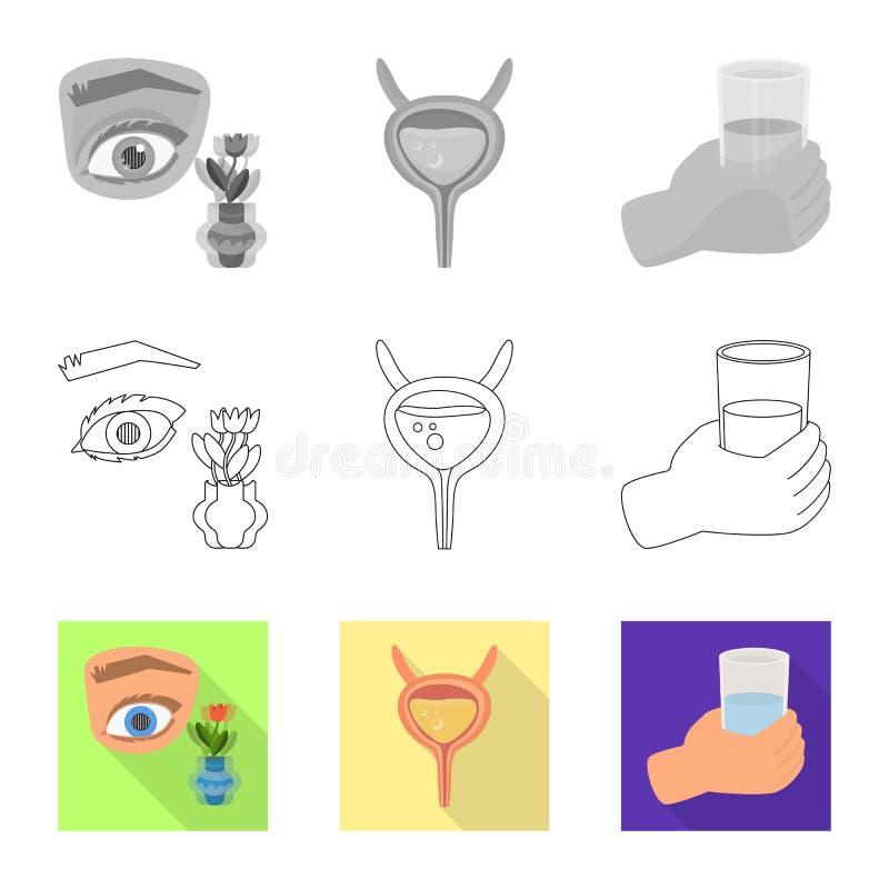 Vectorillustratie van dieet en behandelingsembleem Reeks van dieet en de vectorillustratie van de geneeskundevoorraad royalty-vrije illustratie