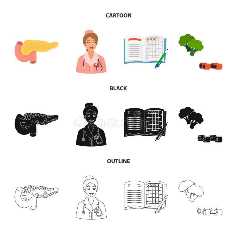 Vectorillustratie van dieet en behandelingsembleem Reeks van dieet en geneeskunde vectorpictogram voor voorraad royalty-vrije illustratie