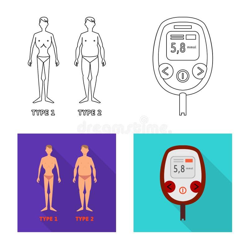 Vectorillustratie van dieet en behandelingspictogram Inzameling van dieet en geneeskunde vectorpictogram voor voorraad stock illustratie