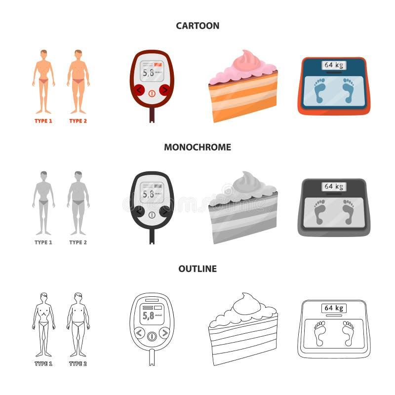 Vectorillustratie van dieet en behandelingspictogram Inzameling van dieet en het symbool van de geneeskundevoorraad voor Web stock illustratie
