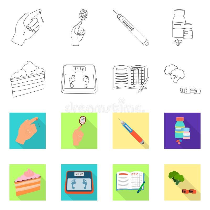 Vectorillustratie van dieet en behandelingspictogram Reeks van dieet en geneeskunde vectorpictogram voor voorraad stock illustratie