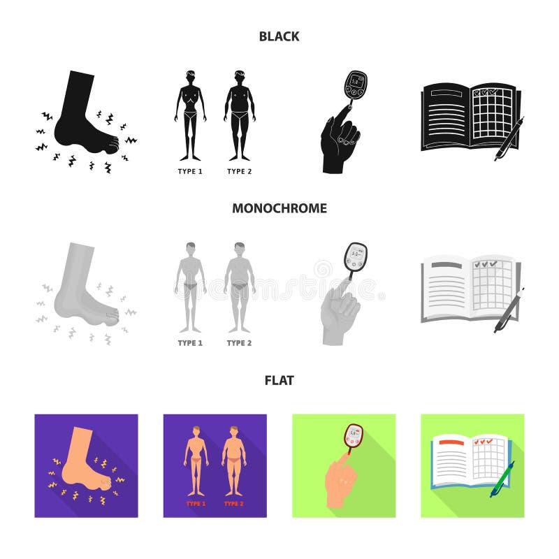 Vectorillustratie van dieet en behandelingssymbool Inzameling van dieet en geneeskunde vectorpictogram voor voorraad stock illustratie