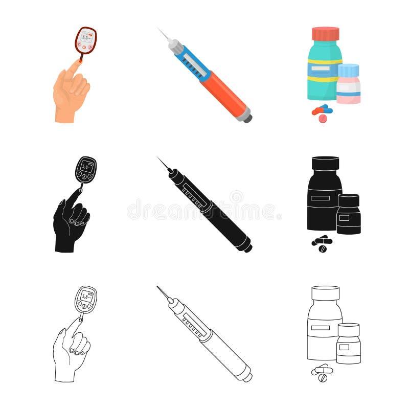 Vectorillustratie van dieet en behandelingssymbool Inzameling van dieet en het symbool van de geneeskundevoorraad voor Web vector illustratie