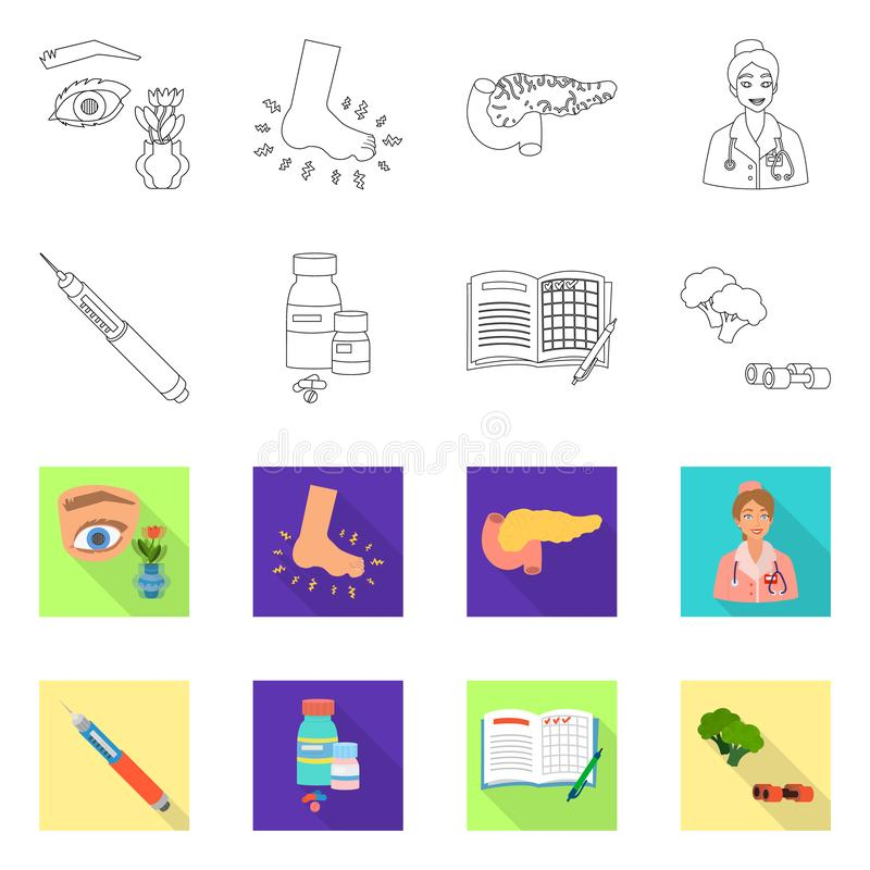 Vectorillustratie van dieet en behandelingssymbool Inzameling van dieet en het symbool van de geneeskundevoorraad voor Web stock illustratie