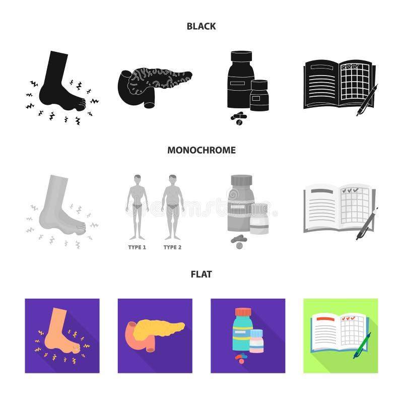 Vectorillustratie van dieet en behandelingssymbool Reeks van dieet en geneeskunde vectorpictogram voor voorraad royalty-vrije illustratie