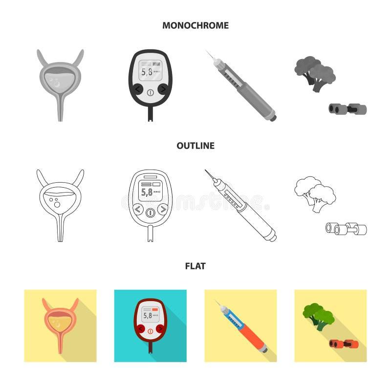 Vectorillustratie van dieet en behandelingsteken Inzameling van dieet en het symbool van de geneeskundevoorraad voor Web royalty-vrije illustratie