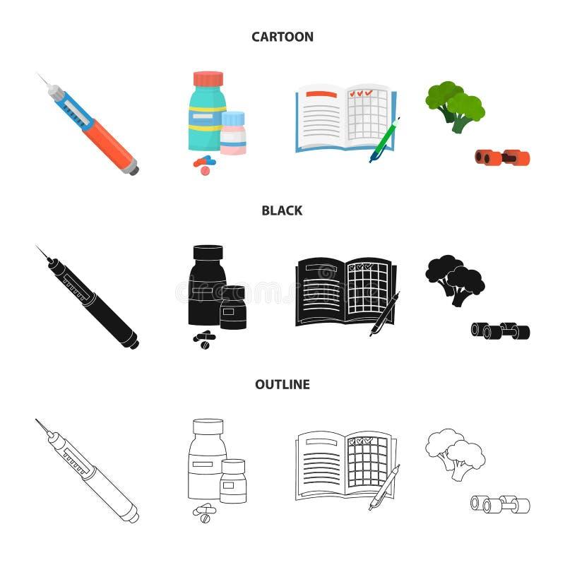 Vectorillustratie van dieet en behandelingsteken Reeks van dieet en het symbool van de geneeskundevoorraad voor Web royalty-vrije illustratie