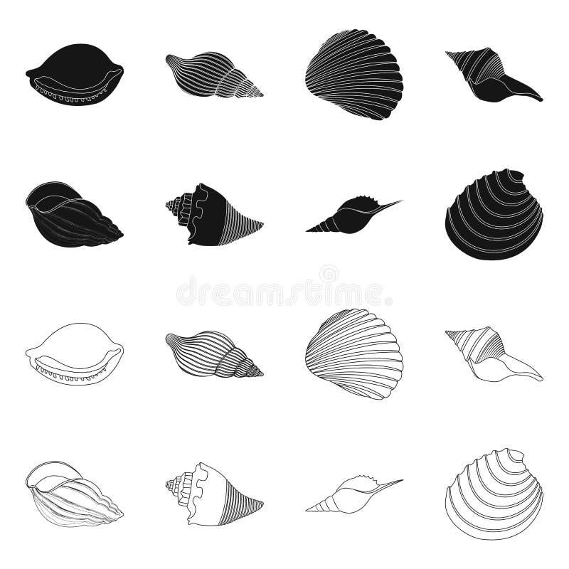 Vectorillustratie van dier en decoratieembleem Inzameling van dierlijke en oceaanvoorraad vectorillustratie royalty-vrije illustratie