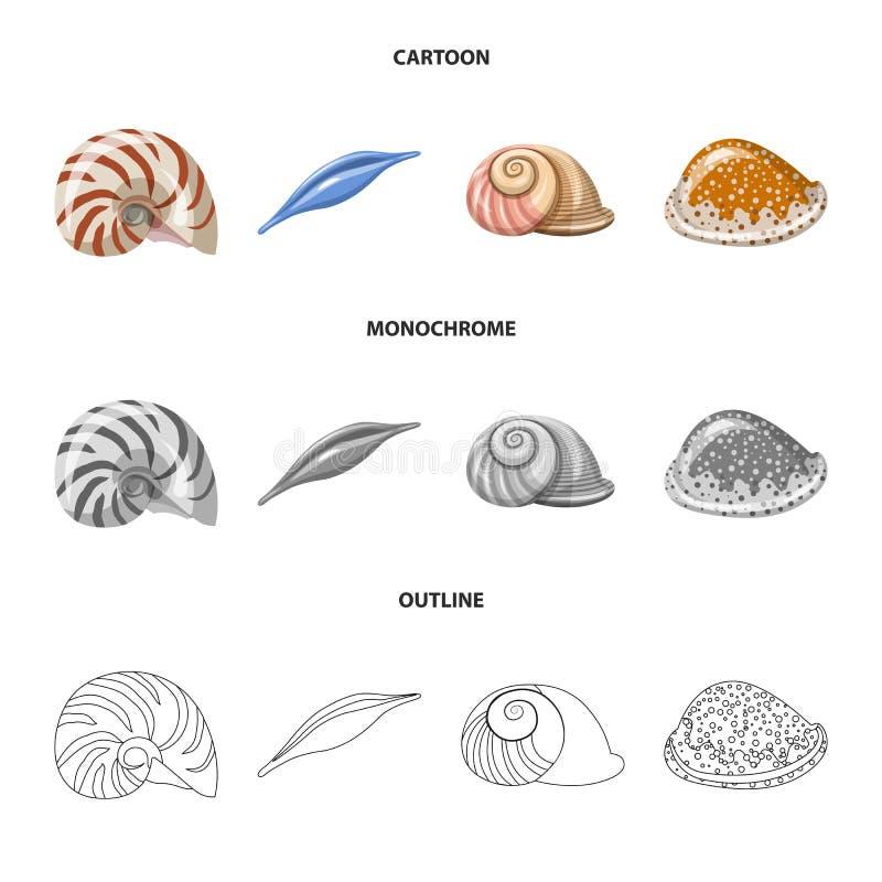 Vectorillustratie van dier en decoratieembleem Reeks van dierlijk en oceaanvoorraadsymbool voor Web royalty-vrije illustratie