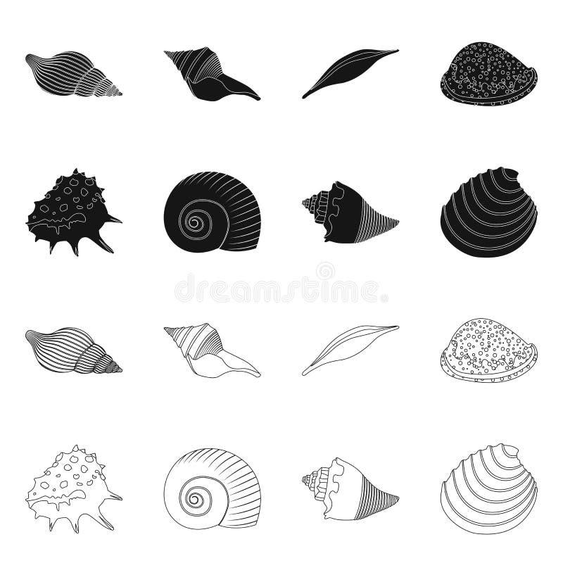 Vectorillustratie van dier en decoratieembleem Reeks van dierlijke en oceaanvoorraad vectorillustratie stock illustratie