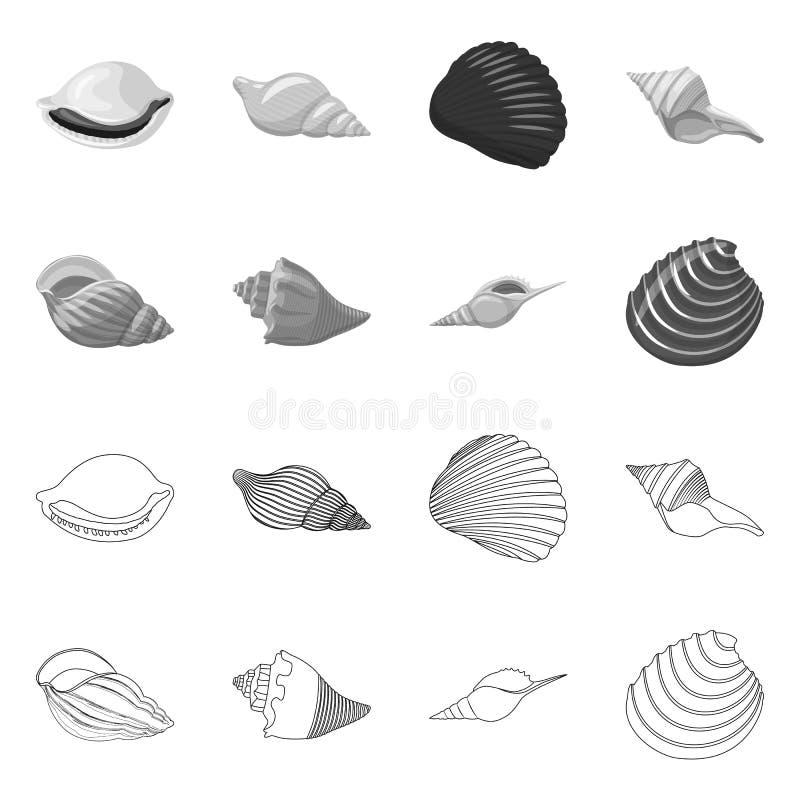 Vectorillustratie van dier en decoratiepictogram Reeks van dierlijk en oceaan vectorpictogram voor voorraad royalty-vrije illustratie