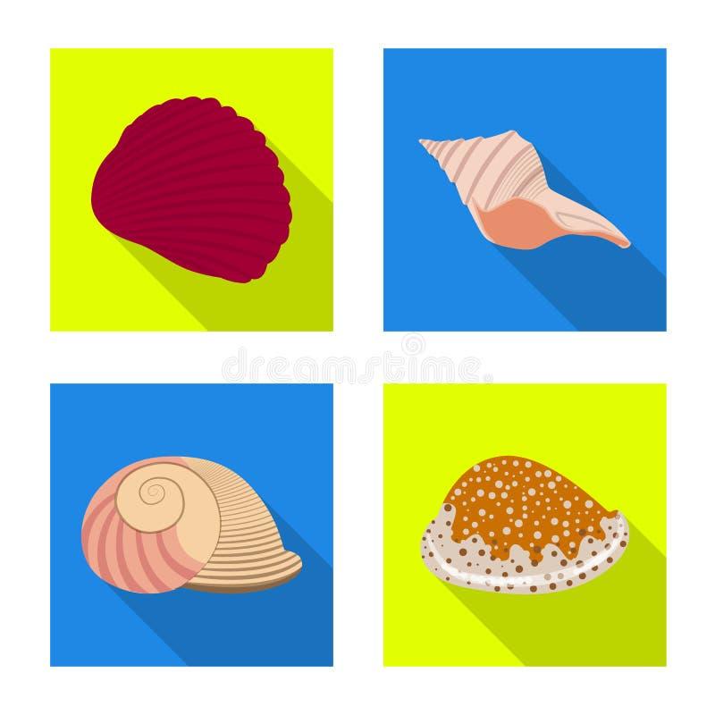 Vectorillustratie van dier en decoratiesymbool Inzameling van dierlijk en oceaanvoorraadsymbool voor Web royalty-vrije illustratie
