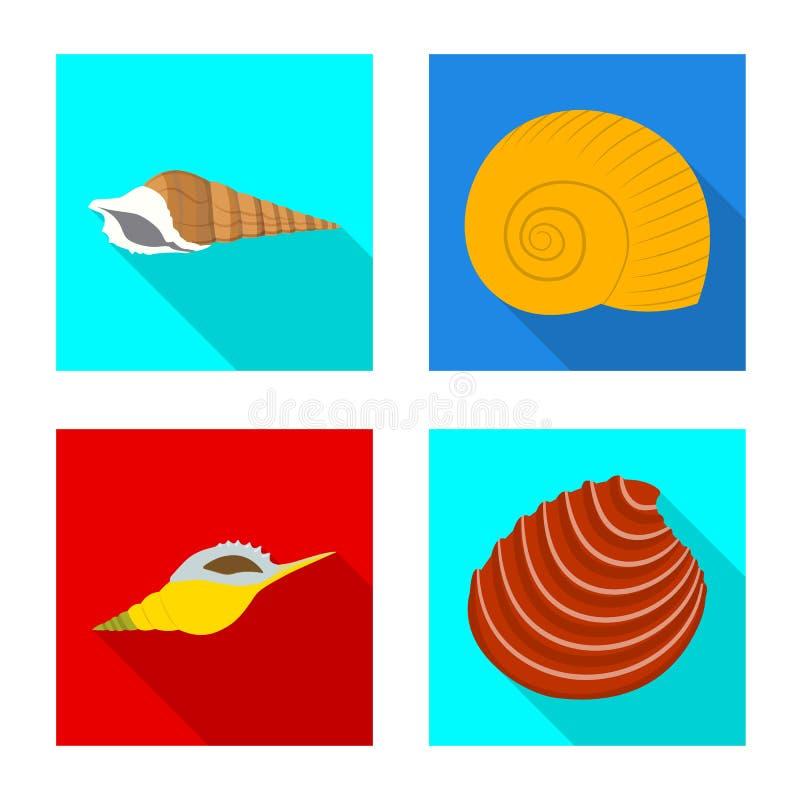 Vectorillustratie van dier en decoratiesymbool Inzameling van dierlijke en oceaanvoorraad vectorillustratie vector illustratie