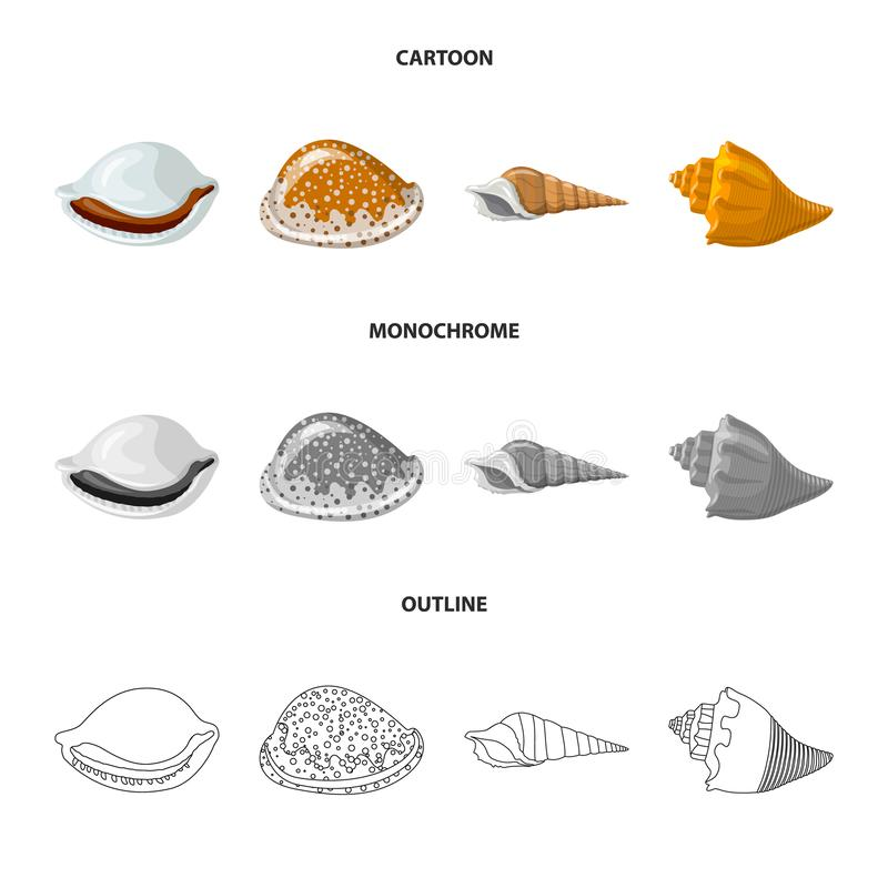 Vectorillustratie van dier en decoratiesymbool Reeks van dierlijk en oceaan vectorpictogram voor voorraad stock illustratie