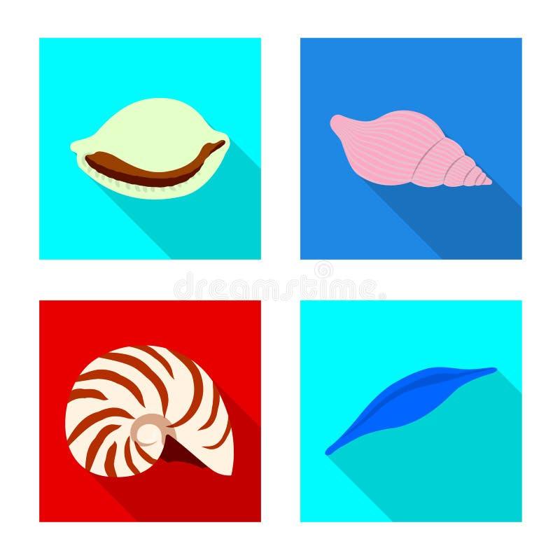 Vectorillustratie van dier en decoratiesymbool Reeks van dierlijke en oceaanvoorraad vectorillustratie royalty-vrije illustratie