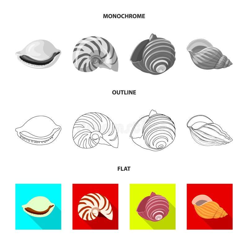 Vectorillustratie van dier en decoratieteken Reeks van dierlijk en oceaanvoorraadsymbool voor Web vector illustratie