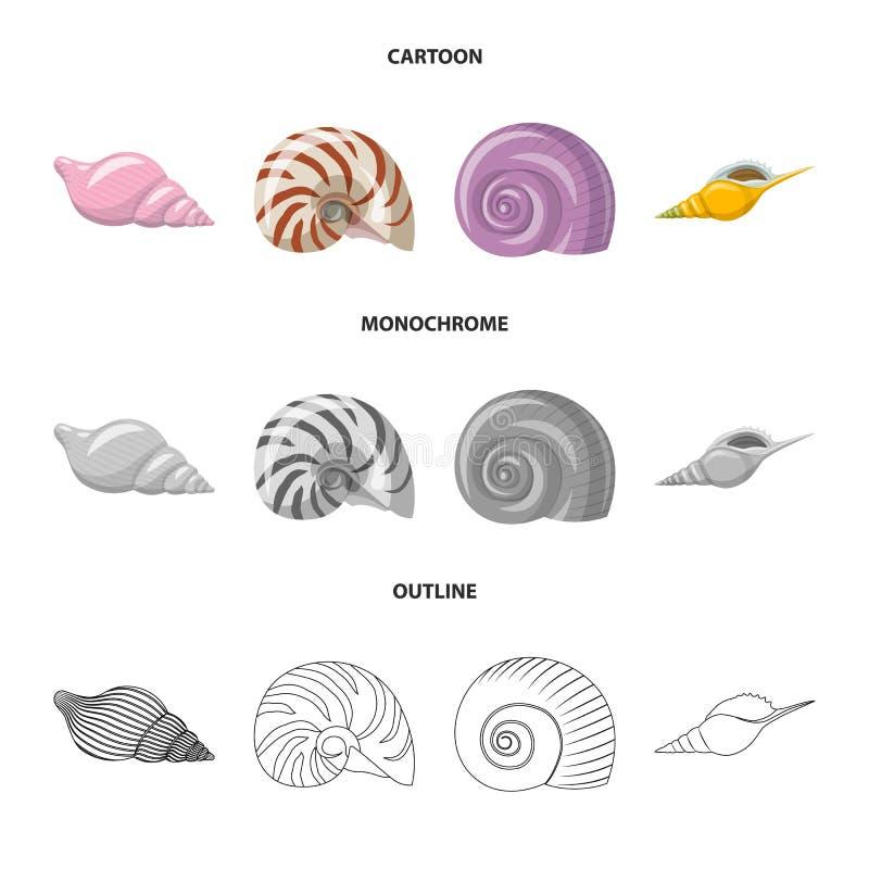 Vectorillustratie van dier en decoratieteken Reeks van dierlijk en oceaanvoorraadsymbool voor Web stock illustratie