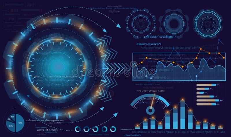 Vectorillustratie van digitale vertoning, statistiek en gegevens, infographic informatie HUD-infographic achtergrond, stock illustratie