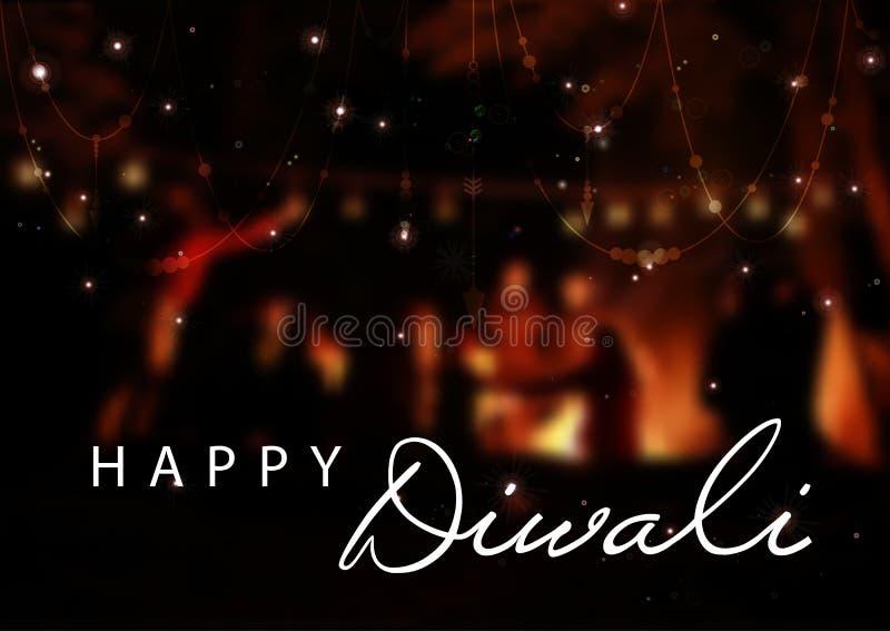 Vectorillustratie van Diwali voor de viering van Hindoes communautair festival De banner van het Web vector illustratie