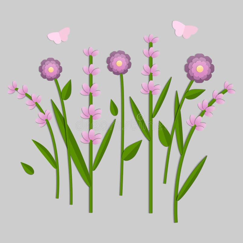 Vectorillustratie van document verwijderde bloemen stock illustratie