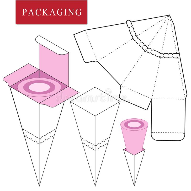 Vectorillustratie van doos pakketmalplaatje royalty-vrije illustratie