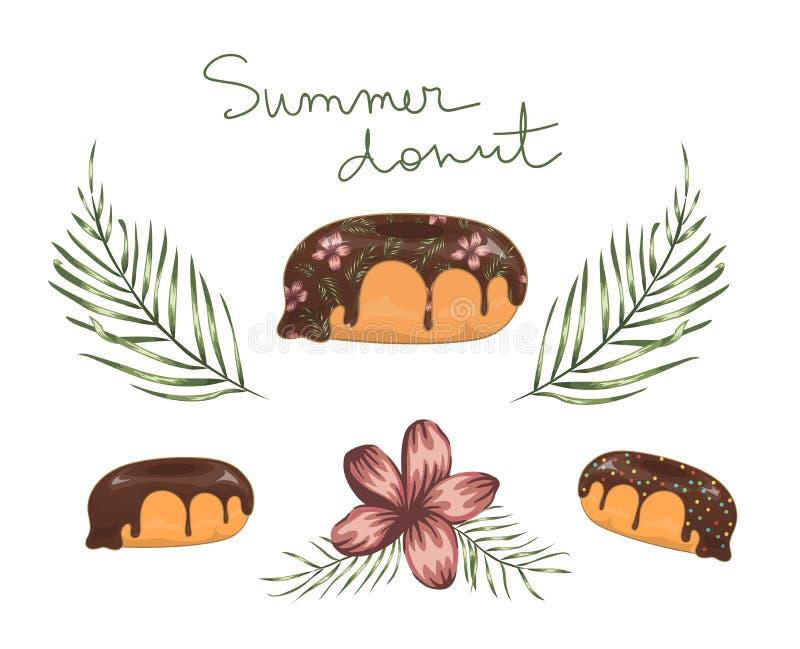 Vectorillustratie van doughnut met chocoladesuikerglazuur met groene palmbladeren en rode bloemen stock illustratie