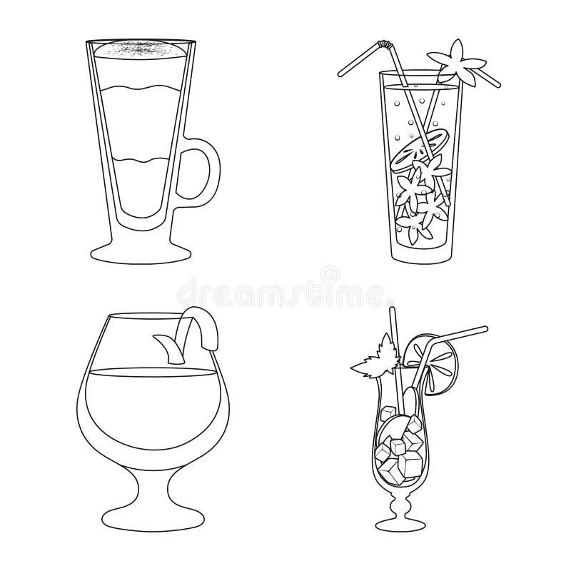 Vectorillustratie van drank en ijsteken Reeks van drank en schudbekervoorraadsymbool voor Web royalty-vrije illustratie
