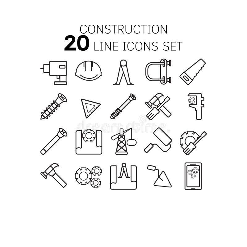 Vectorillustratie van dunne lijnpictogrammen voor bouw royalty-vrije illustratie