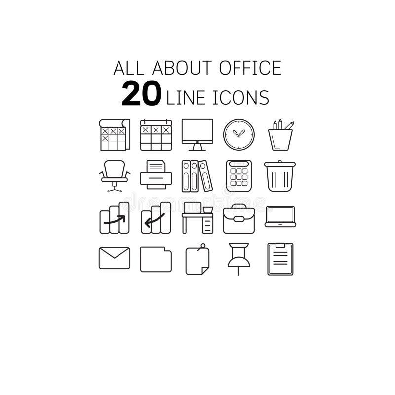 Vectorillustratie van dunne lijnpictogrammen voor bureau en zaken royalty-vrije illustratie