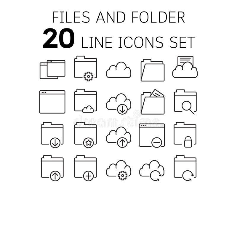 Vectorillustratie van dunne lijnpictogrammen voor dossiers en omslagen stock illustratie