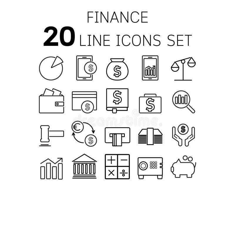 Vectorillustratie van dunne lijnpictogrammen voor financiën royalty-vrije illustratie
