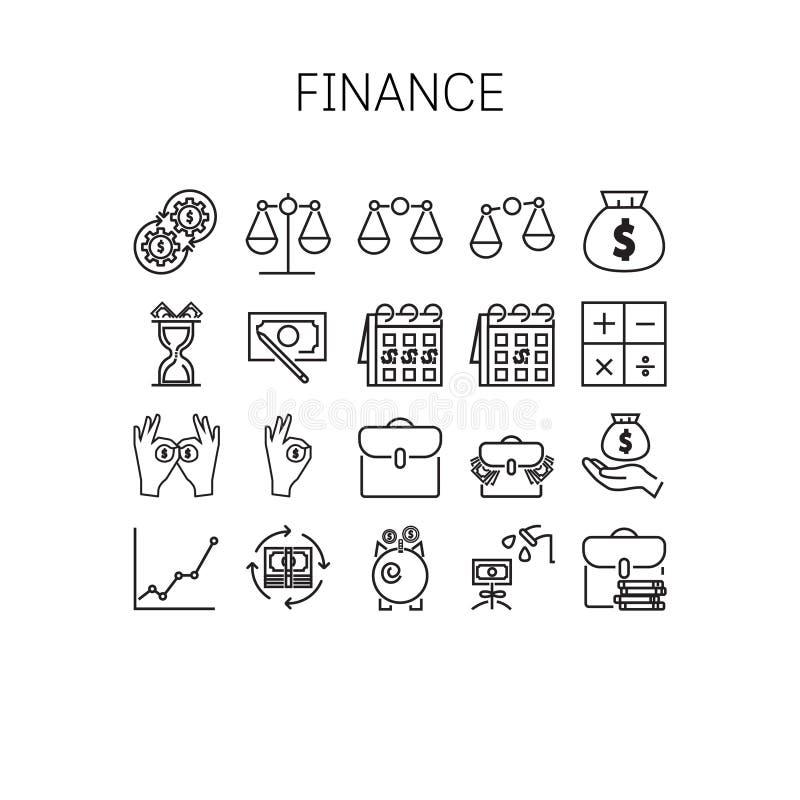 Vectorillustratie van dunne lijnpictogrammen voor financiën vector illustratie