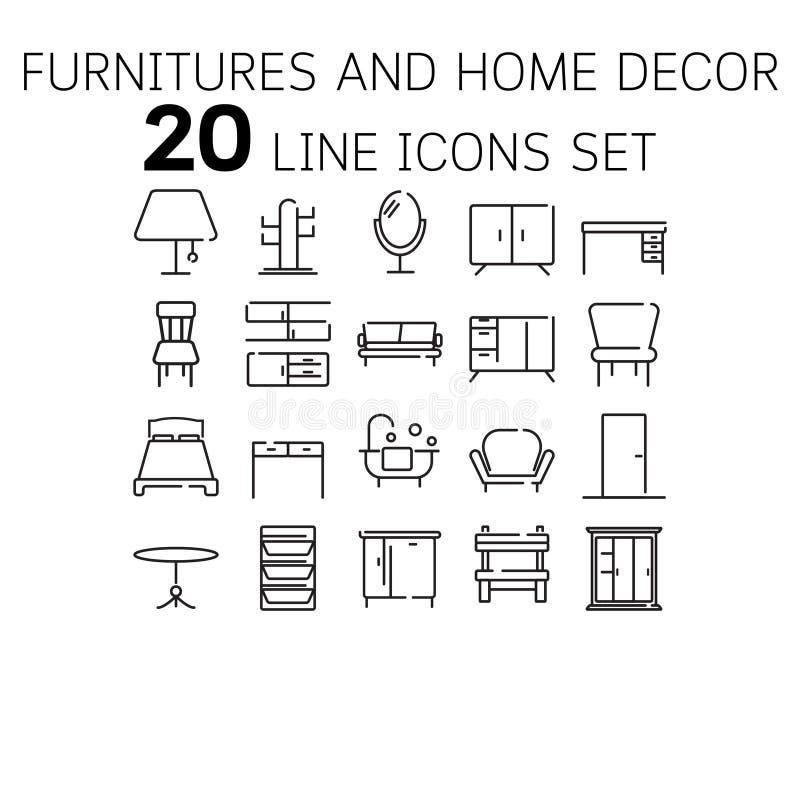 Vectorillustratie van dunne lijnpictogrammen voor Furnitures en Decor vector illustratie