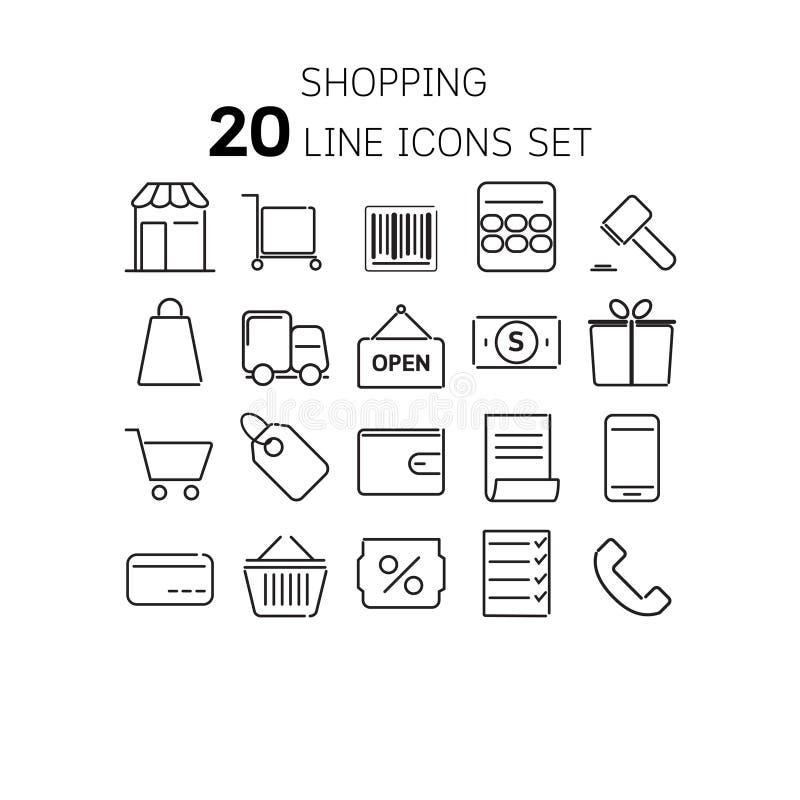 Vectorillustratie van dunne lijnpictogrammen voor het winkelen royalty-vrije illustratie