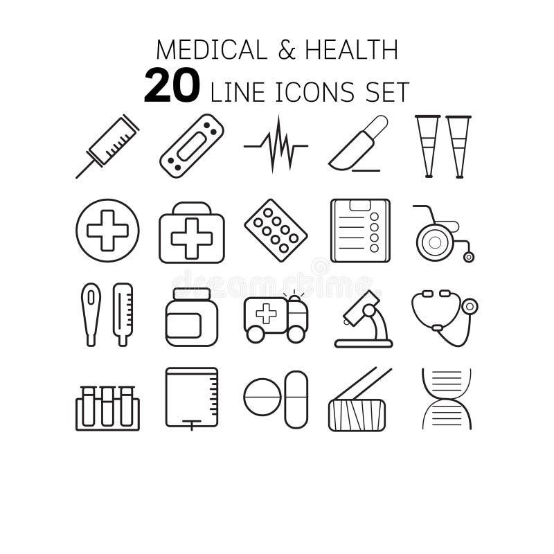 Vectorillustratie van dunne lijnpictogrammen voor medisch en vector illustratie