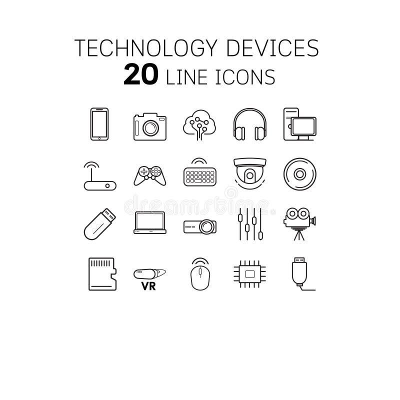 Vectorillustratie van dunne lijnpictogrammen voor technologie stock illustratie