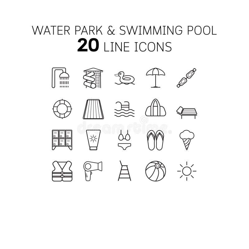 Vectorillustratie van dunne lijnpictogrammen voor waterpark, het zwemmen, pool, stock illustratie